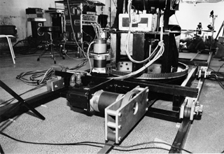 The camera robot in a studio between sequences for the 1997 LEGO campaign