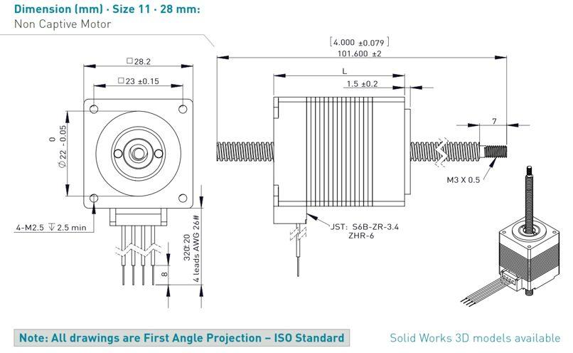 Stepper motor linear actuators - NEMA11 28mm on