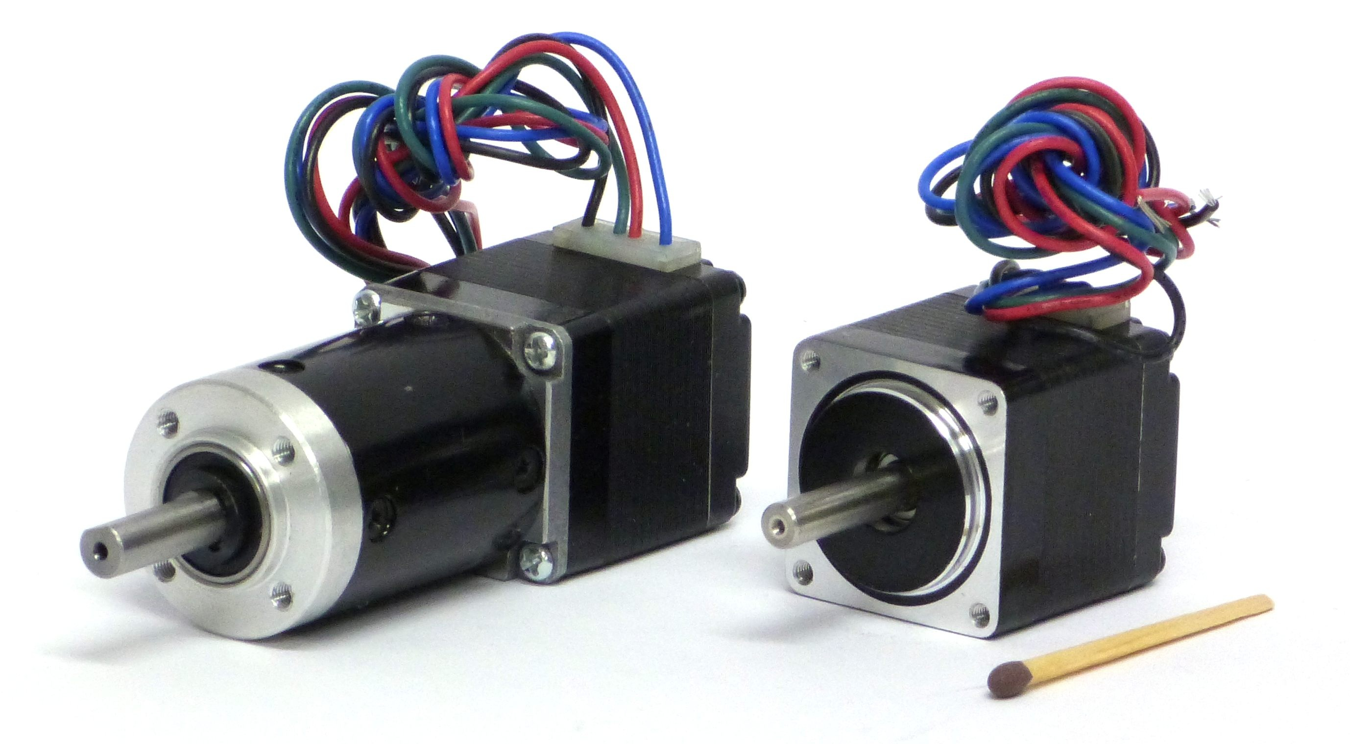 Perfect example of how small a mini stepper motor from JVL is! a real miniature stepper motor.